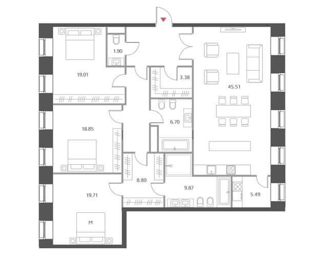 Планировка квартиры с тремя спальнями по Старомонетному, жк Cloud Nine