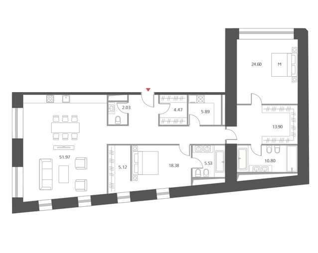 Планировка квартиры с двумя спальнями, Cloud Nine