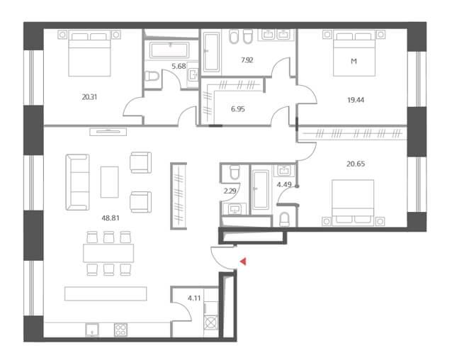 Планировка квартиры с тремя спальнями, Cloud Nine