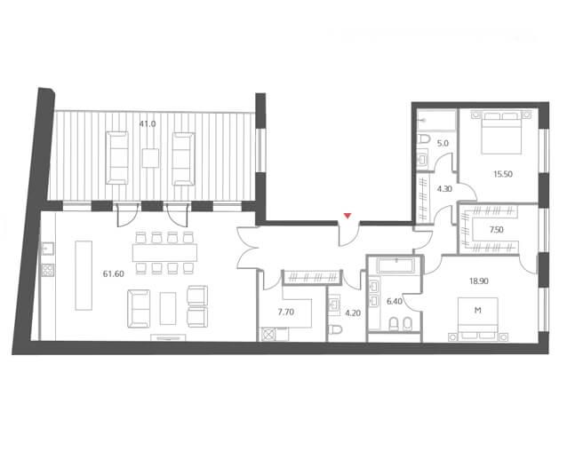 Планировка апартаментов с террасой и двумя спальнями, жк Cloud Nine